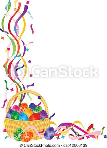 Easter Eggs Basket Confetti Border Illustration - csp12006139