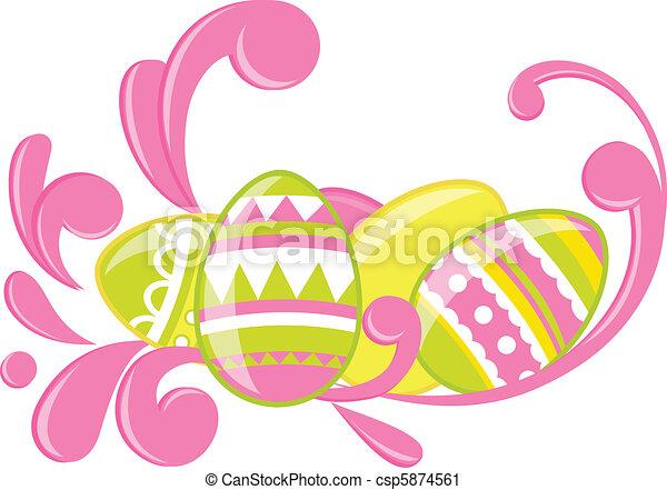 Easter eggs card - csp5874561