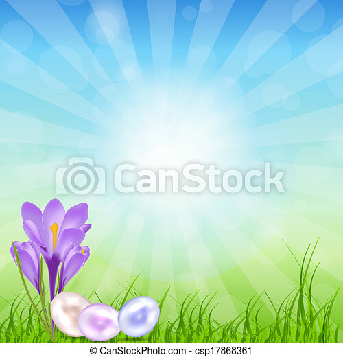 Easter eggs card with colourful eggs. vector illustration - csp17868361
