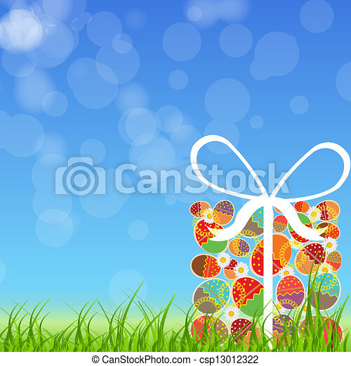 Easter eggs card with colourful eggs. vector illustration - csp13012322
