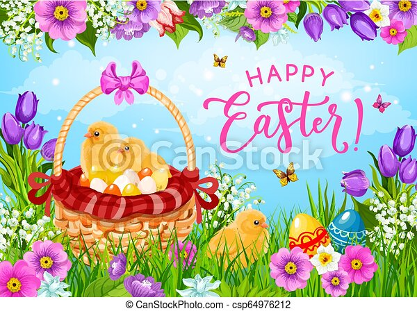 Easter eggs, chicks and flowers in basket - csp64976212