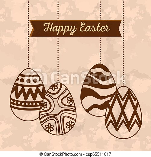 easter eggs decoration hanging and ribbon - csp65511017