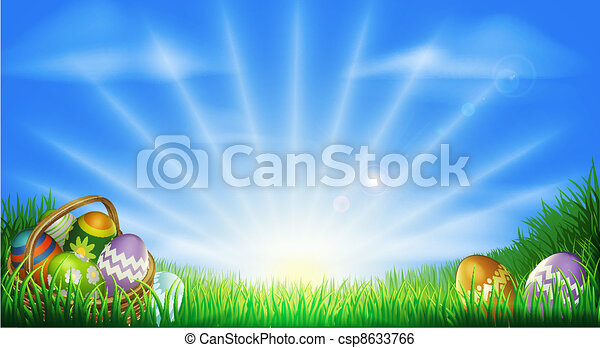 Easter eggs field background - csp8633766