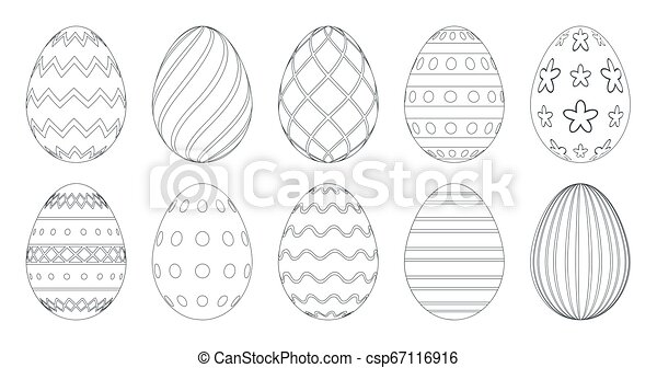 Easter Eggs For Coloring Book. Set Of Black And White Easter Eggs Isolated  On A White Background. CanStock