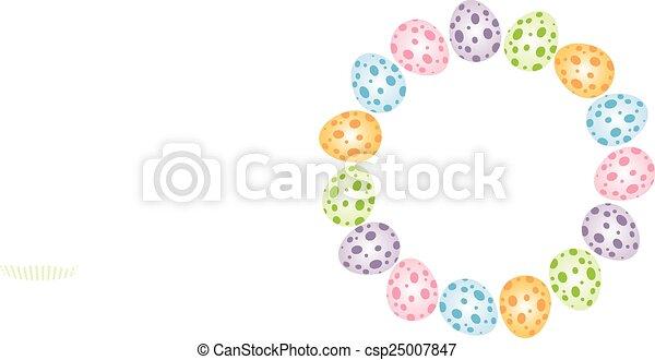 Easter eggs forming a circular fram - csp25007847