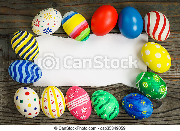 Easter eggs gift card on wooden background stock images search easter eggs gift card on wooden background csp35349059 negle Choice Image