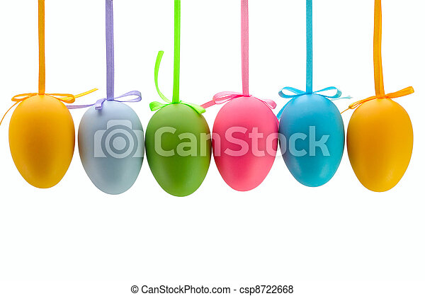 Easter eggs hanging on ribbons. Isolated. - csp8722668