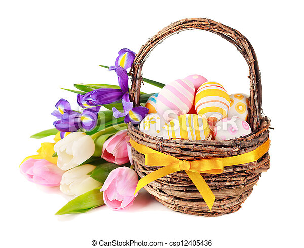 Easter eggs in a basket and spring flowers - csp12405436