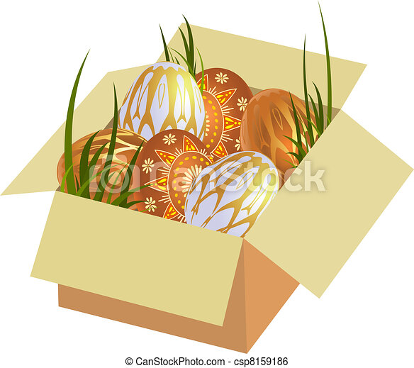 Easter eggs in a box - csp8159186