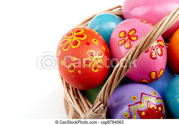 Easter eggs in basket - csp8784063