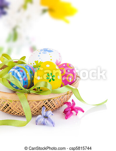 easter eggs in basket with bow - csp5815744