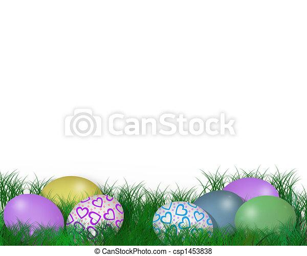 Easter Eggs in Grass 3D Illustratio - csp1453838