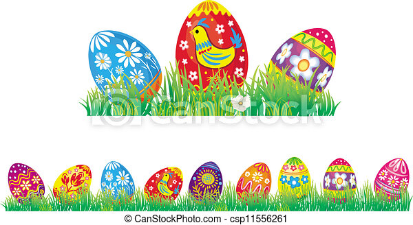 Easter eggs in grass - csp11556261