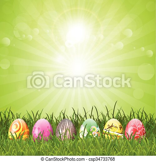 Easter eggs in grass   - csp34733768
