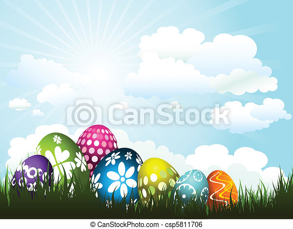 Easter eggs in grass - csp5811706