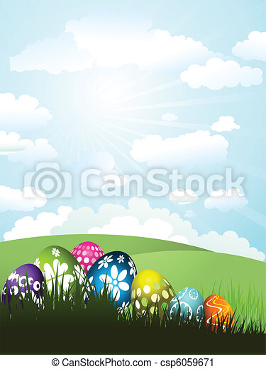 Easter eggs in grass - csp6059671