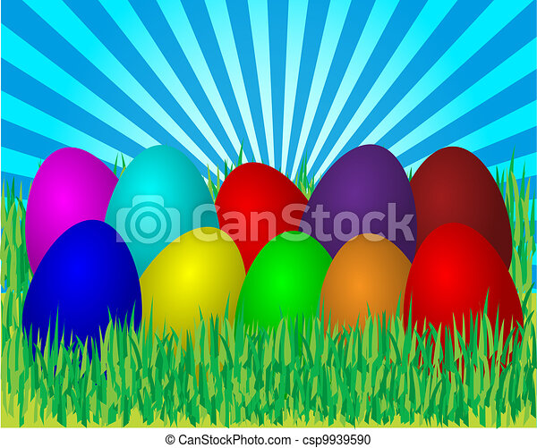 Easter eggs in grass - csp9939590