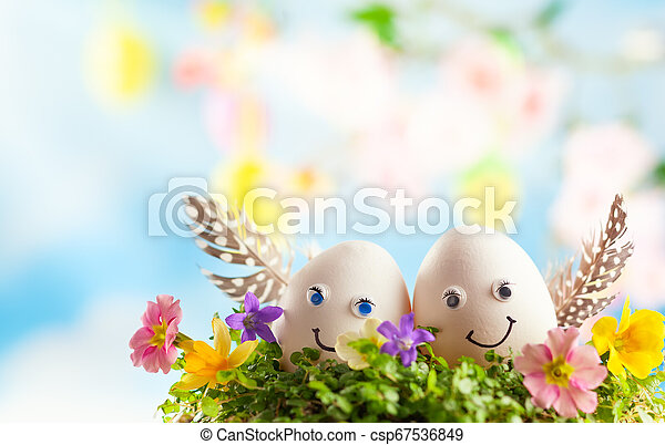 Creative Easter Egg Decoration Ideas With Funny Easter Egg Faces Easter Eggs In Nest On Sky Background Canstock
