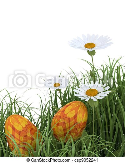 easter eggs in spring flowers - csp9052241