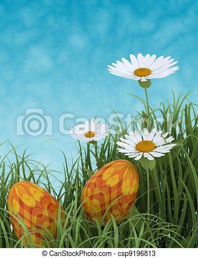 easter eggs in spring flowers - csp9196813