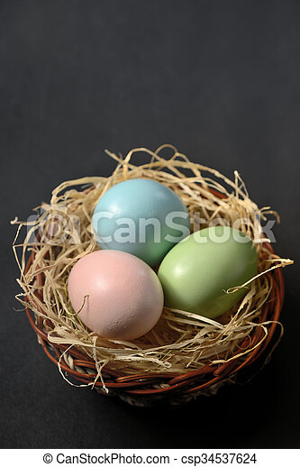 Easter eggs in the nest  - csp34537624