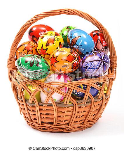 Easter Eggs in wicker basket - csp3630907