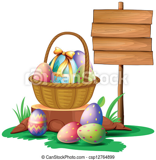 Easter eggs near a wooden signboard - csp12764899