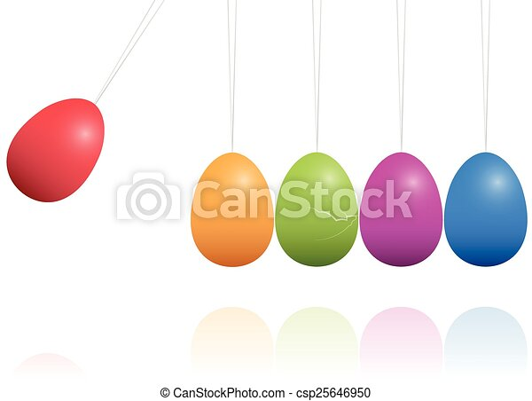 Easter Eggs Newtons Cradle - csp25646950
