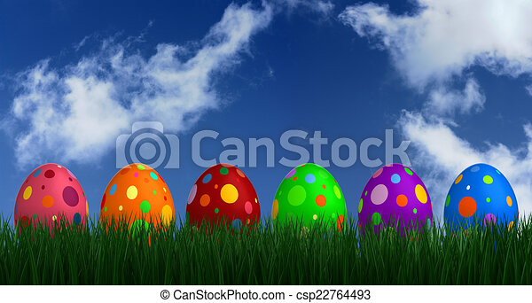 Easter Eggs on Grass - csp22764493
