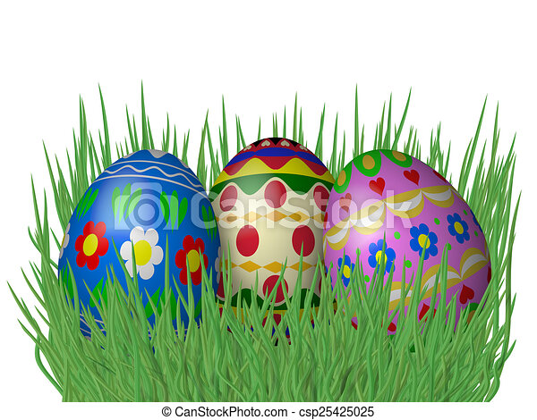 Easter eggs on grass isolated on white background - csp25425025