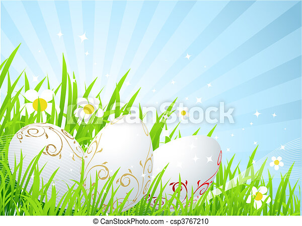 Easter eggs on the spring  meadow - csp3767210