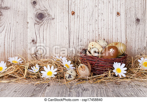Easter eggs on wood - csp17458840