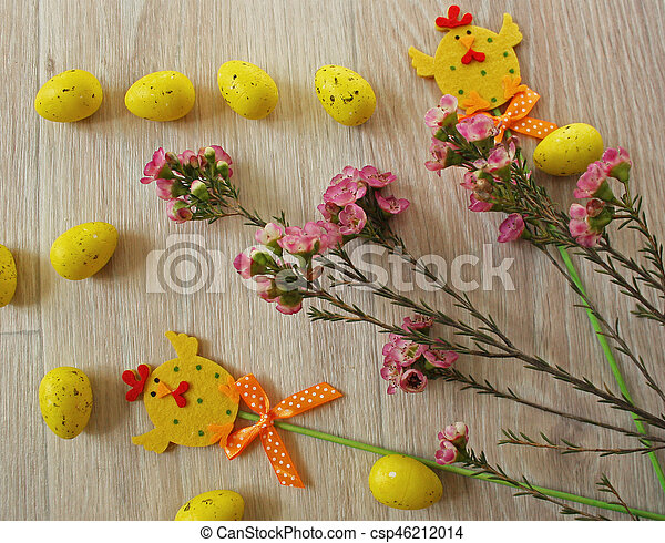 Easter eggs on wooden background - csp46212014
