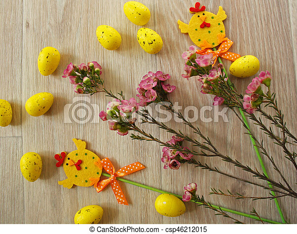 Easter eggs on wooden background - csp46212015