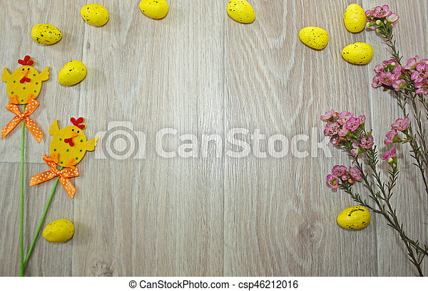 Easter eggs on wooden background - csp46212016