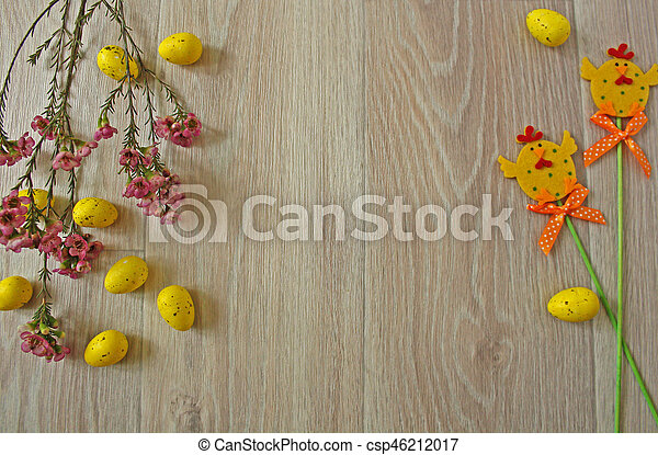 Easter eggs on wooden background - csp46212017