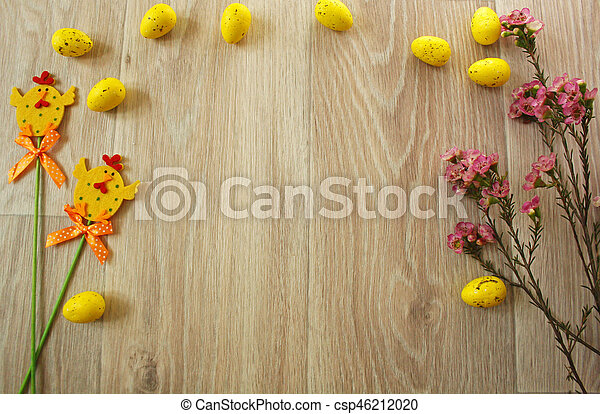 Easter eggs on wooden background - csp46212020