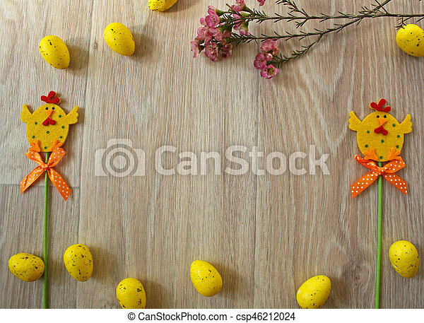 Easter eggs on wooden background - csp46212024