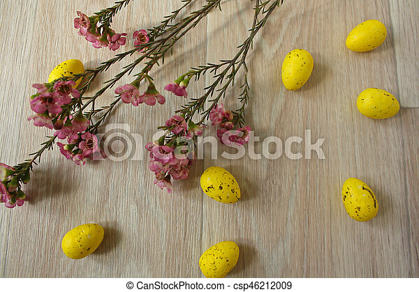 Easter eggs on wooden background - csp46212009
