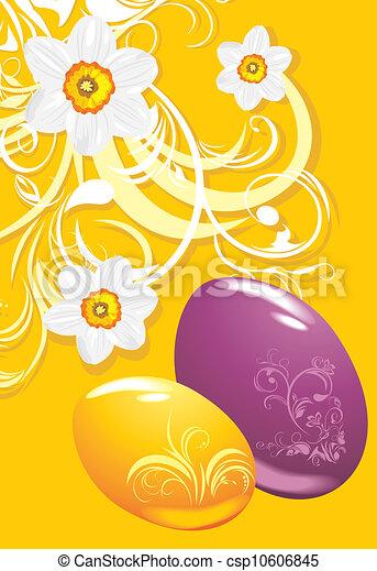 Easter eggs. Ornamental background - csp10606845