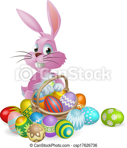 Easter eggs pink bunny - csp17626736
