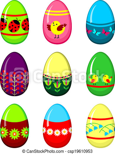 Easter eggs set.  - csp19610953