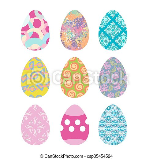 Easter eggs set. Easter eggs on white background. Eggs isolated. Festive traditional eggs for Easter - csp35454524