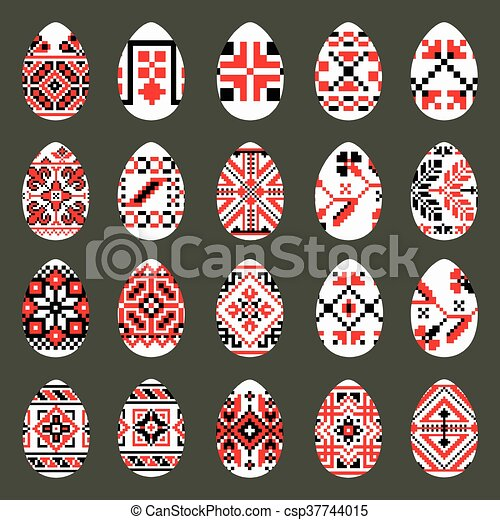 Easter Eggs Set in traditional ukrainian style - csp37744015
