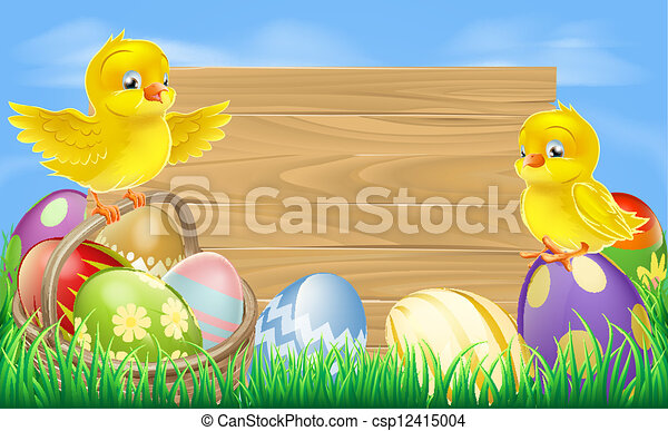 Easter eggs sign - csp12415004