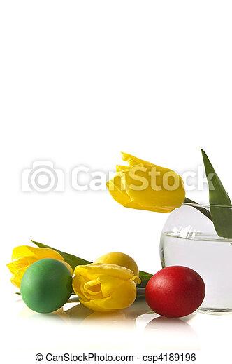 easter eggs still life - csp4189196