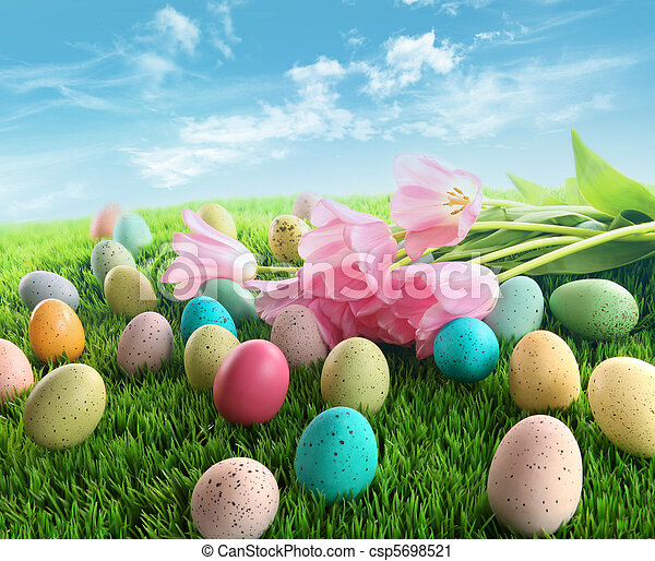 Easter eggs with pink tulips on grass - csp5698521