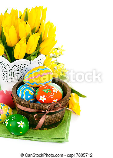 easter eggs with spring flowers - csp17805712