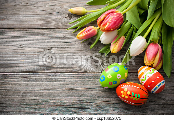 Easter eggs with tulips - csp18652075
