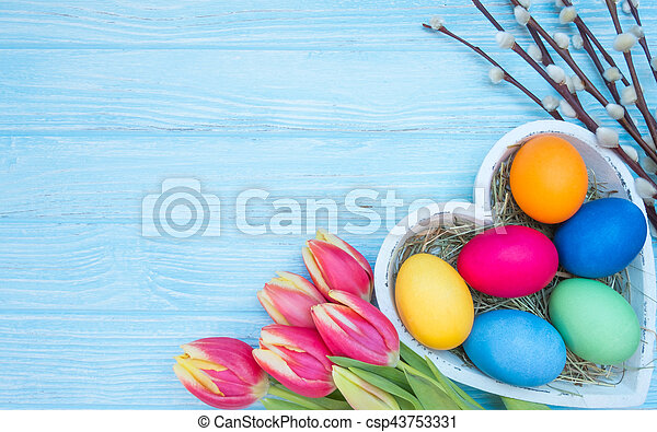 Easter eggs with tulips - csp43753331
